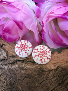Red Snow Flake Christmas Stud - Bucklicious Designs