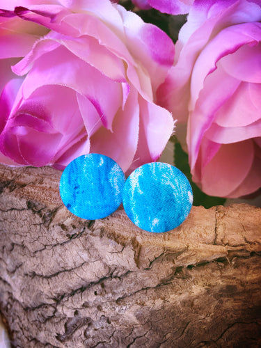 Blue Marble Fabric Stud - Bucklicious Designs