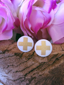Gold Cross Fabric Stud - Bucklicious Designs