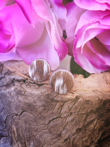 Brown & White Cowhide Studs - Bucklicious Designs