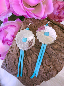Concho Fringe Earrings - Turquoise - Bucklicious Designs