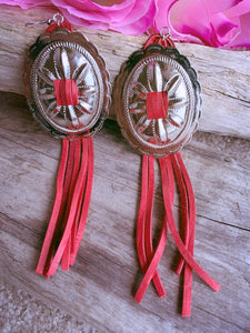 Concho Tassel Earrings- Red - Bucklicious Designs