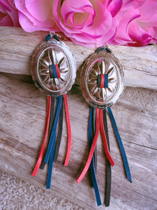 Concho Tassel Earrings- Black, Red & Navy - Bucklicious Designs