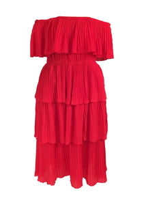 MIRI Ruffled Accordion Pleat Dress
