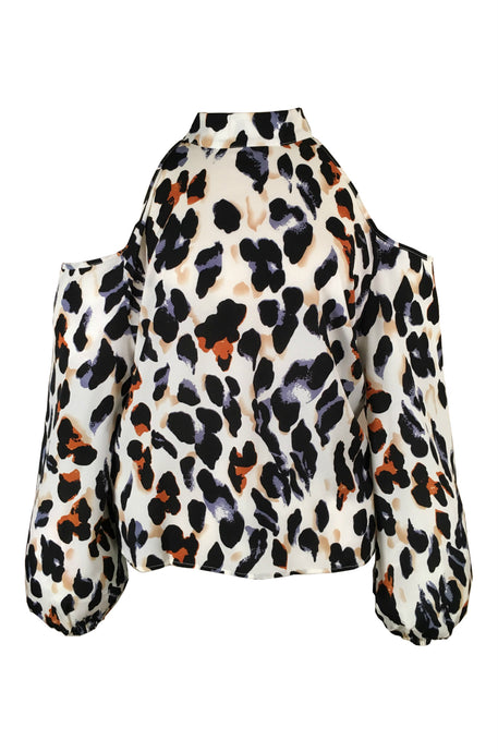 SÃO VICENTE Leopard Cold Shoulder Blouse