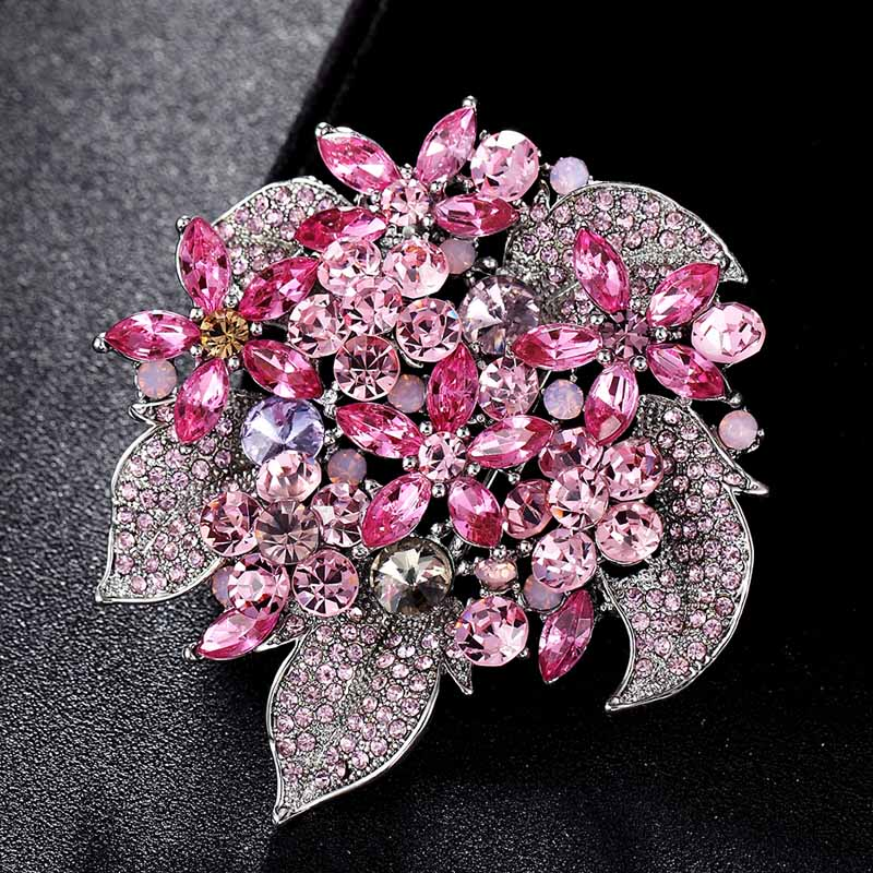 14ec30ae70d36 Fashion Bridal Flower Brooches Jewelry Perfect Pink Green Rhinestone  Crystal Hijab Pins Brand Women's Party Broches Bijoux