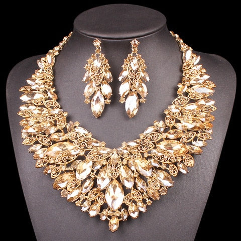 4e6087400b Indian Jewellery Bridal Jewelry Sets Gold Color Crystal Party ...