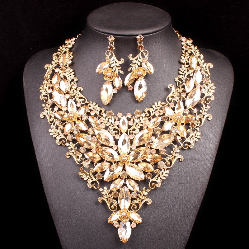 f1f64ccc692bd Luxury Bridal Jewelry Sets Wedding Necklace Earring For Brides Party  Accessories Gold Color Leaf Flowers Decoration Gift Women