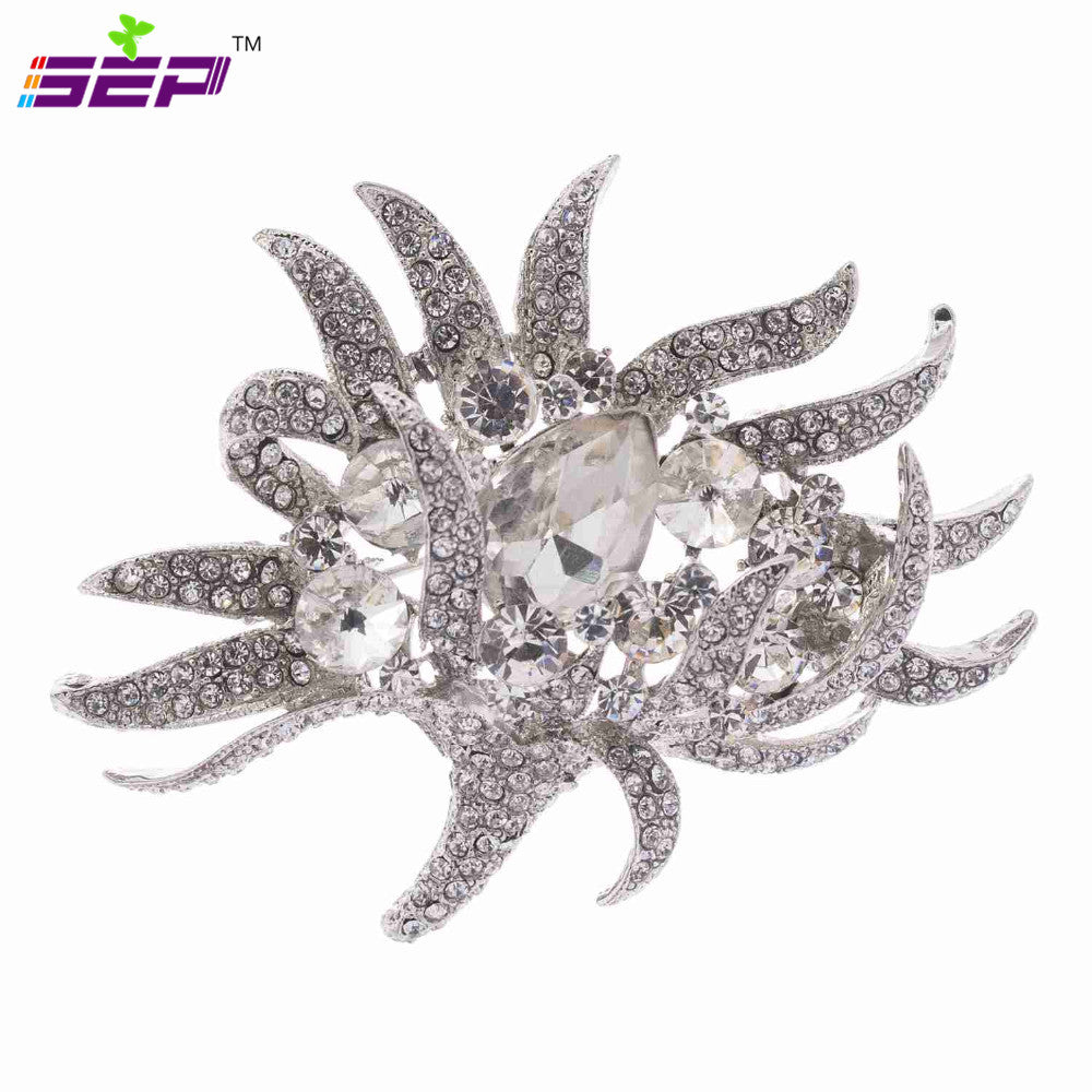 347b3d7a7b813 Rhinestone Crystals Flower Brooch Broach Pin Brooches for Women Dress Hat  Shoes Accessories Jewelry 6545