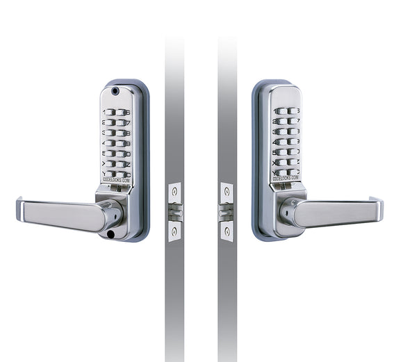CL410 - TUBULAR MORTICE LATCH BACK TO BACK -Medium duty mechanical locks with full size lever handles.Two coded plates providing coded access in both directions
