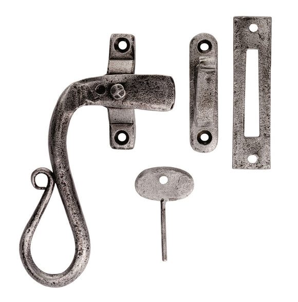 Hand Forged Pewter Shepherds Crook Locking Casement Fastener