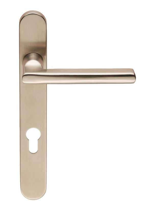 EUROSPEC CARLTON NARROWSTYLE LEVER ON 240X32X10MM OVAL BACKPLATE (UNIVERSAL SPRING) * VARIANT A 92MM CENTRES G316/304