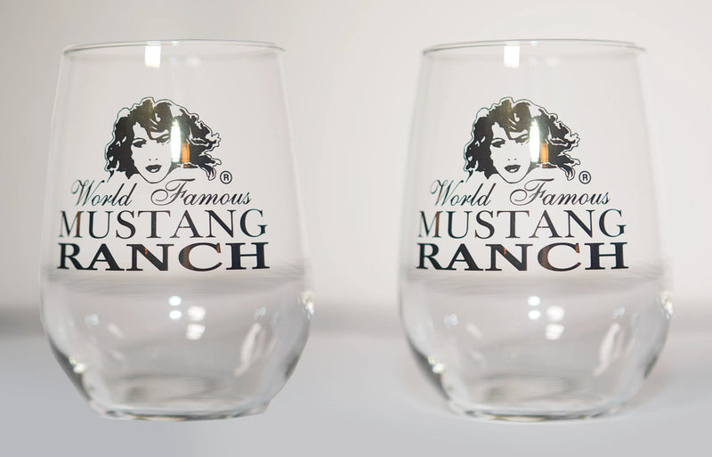 Premium Official Mustang Ranch Stemless Wine Glasses - Set of two