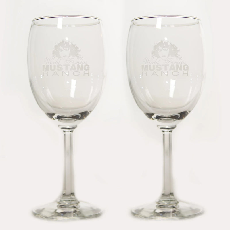 Premium Official Mustang Ranch Wine Glass - (set of 2)