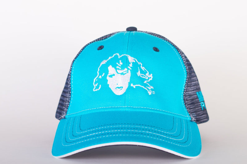 Mustang Ranch (Face) Split Logo Twill Hat in Turquoise with Mesh Snap Back