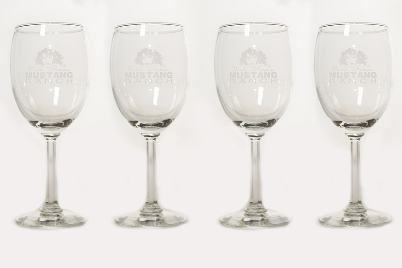 Premium Official Mustang Ranch Wine Glass - Set of four