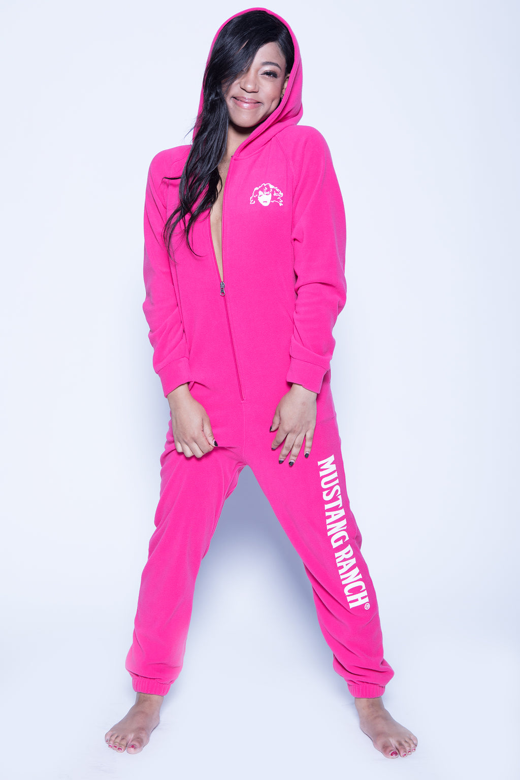 Women's Flannel Onesie Lounger - Black or Fuchsia