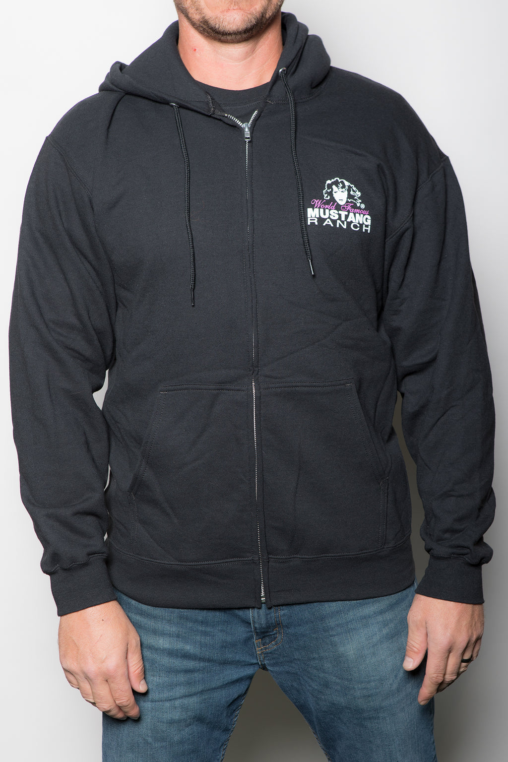 Unisex Zip-up Hoodie with Mustang Ranch Logo