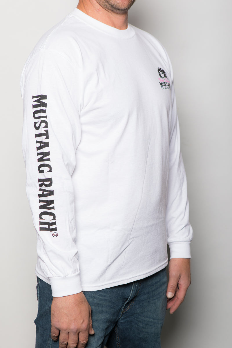 Men's No One Rides For Free Long Sleeve T-Shirt (White with Logo Back)
