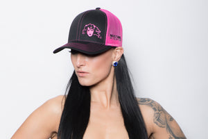 Fuchsia Mustang Ranch Split Logo Twill Hat with Mesh Snap Back