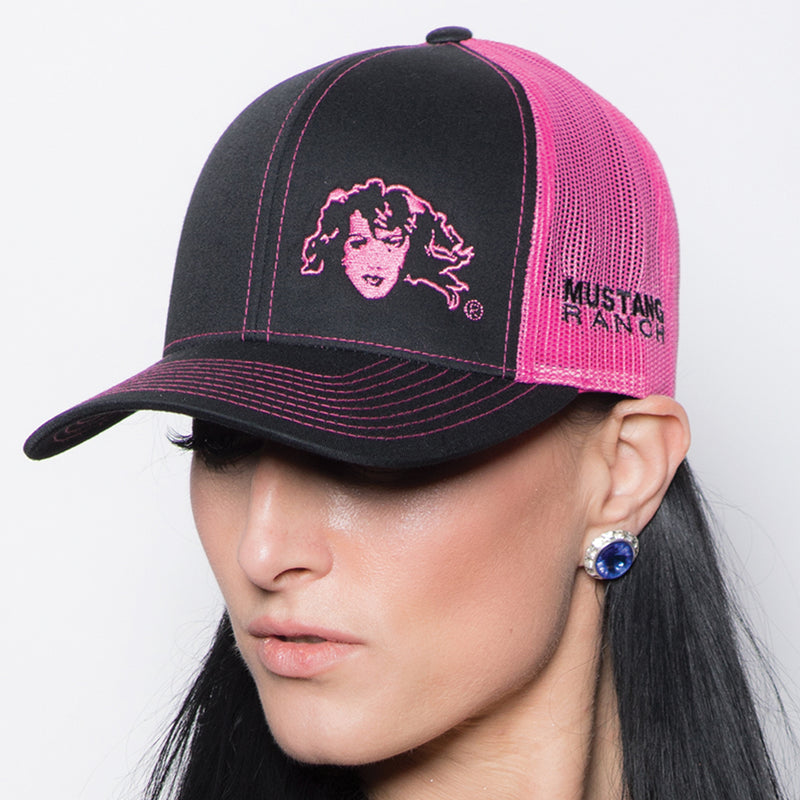 Fuchsia & Black Twill Cap - Embroidered Split Logo