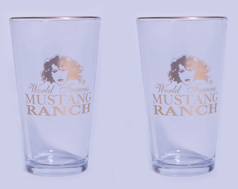 Pint Glass - Gold Logo (set of 2)