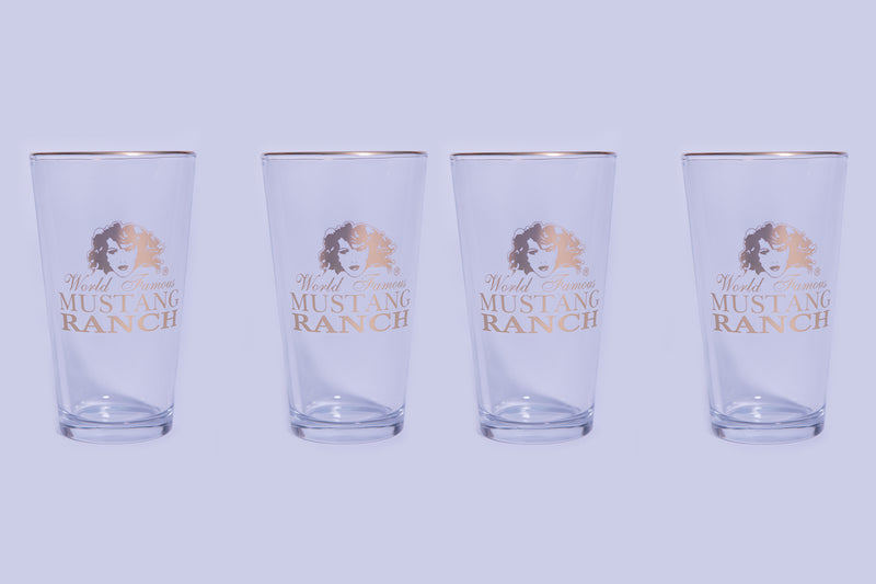 Pint Glass - Gold Logo (set of 4)