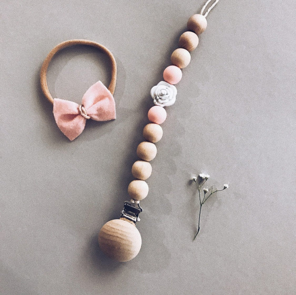 Whimsical Rose Pacifier Clip