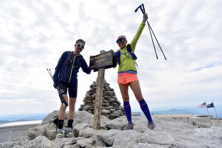 July 4 2015, at the Mt Washington summit. Day 39 of their trip entering into the Presidential range in the White Mountains of New Hampshire. Photo by Luis Escobar.
