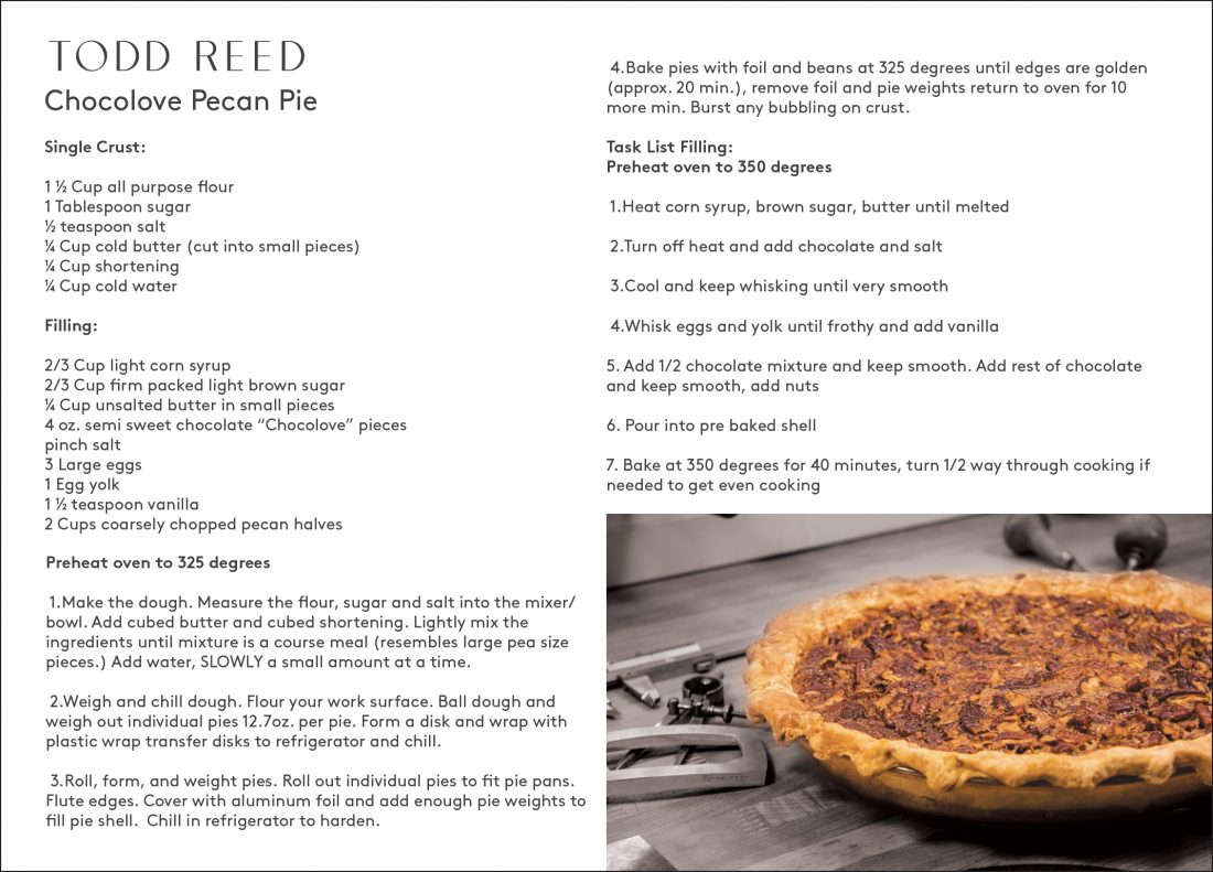 Todd Reed Chocolove Pecan Pie recipe