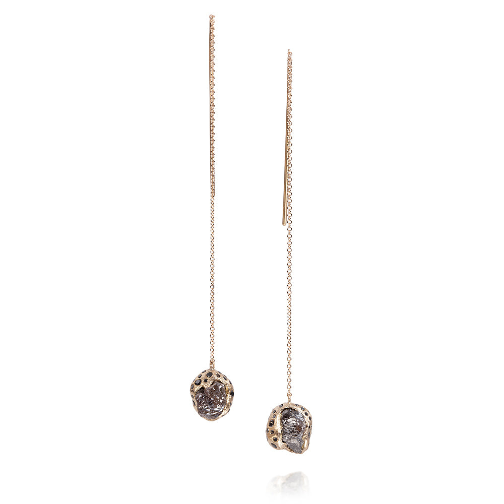 Raw Diamond Dangle Earrings in Rose Gold Todd Reed Luxury Jewelry TRDE366-RG-1