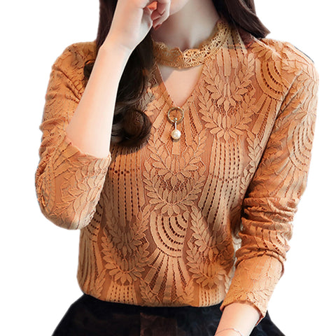 2018 Autumn Women Lace Blouse Long Sleeve Fashion Blouses and Shirts Crochet