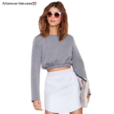 2018 Spring Women Crop Tops Long Sleeve Pullover Sweatshirt Cotton Casual