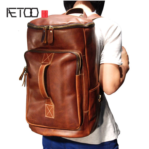 Super large section of the first layer of imported crazy cowhide portable backpack dual travel