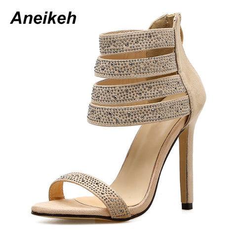 c37992406dd ... Elegant Crystal Embellished High Heel Sandals Cut-out Peep Toe