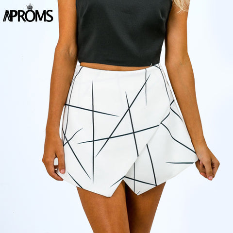 Aproms New 2018 Summer Style Shorts Women Sharp Lines Layered Zipper Skort Irregular