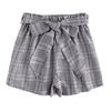 Sheinside Self Tie Waist Plaid Shorts 2018 Summer Mid Waist Straight Leg Shorts Women