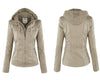 Women Jackets Female Hat Removable Women Basic Coats Waterproof