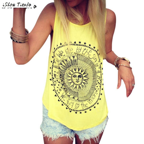 Tops Stylish Sun Letter Circle Printed Tank Top Women Casual Cotton Fitness Top