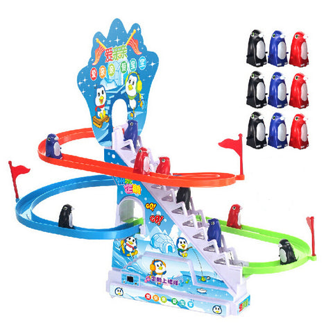 Hot Famous Electric Pet 9pcs Cute Small Penguin Climb Stairs Tracks With Light Music