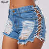 Hzirip Sexy Summer Women Denim Shorts 2018 New Black Blue High Waist Ripped Short Jeans