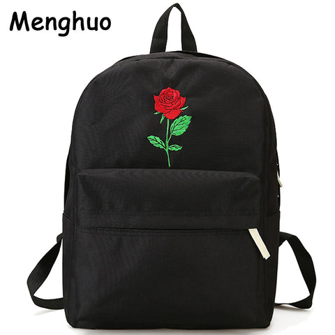 Backpack Cute Women Rose Embroidery Backpacks for Teenagers Women's