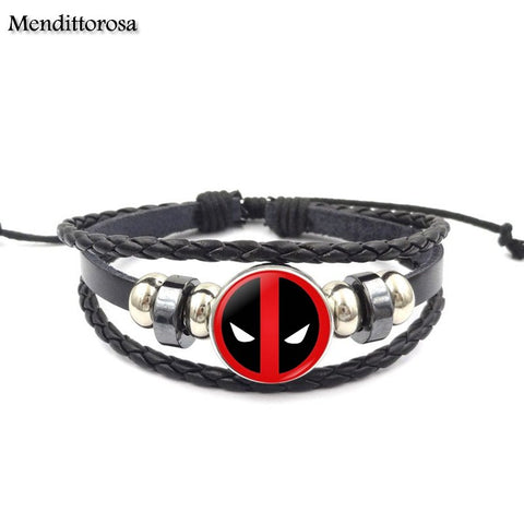 Deadpool Fashion Novelty Glass Black Leather Bracelet Bangles For Girls