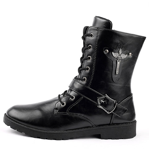 Mens Army Military Boots Outdoor Soft Leather Motorcycle Boots Men Zip Ankle Boots Men Shoes