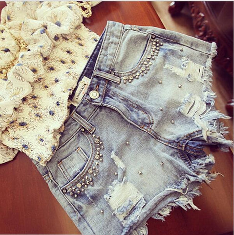 Summer Beaded Denim Shorts Female Casual  Vintage Women Jeans Shorts Tassel Denim Shorts