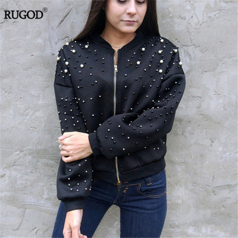 New Hot Diamond Beading Bomber Jacket Women 2018 Spring Casual Loose Zipper Long Sleeve