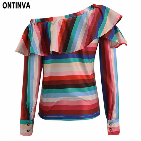 Sexy Rainbow Color Striped Ruffles Blouse Fashion Skew Collar with Button Women