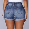 denim shorts Casual Skinny Short Pants Retro high waist Woman Ripped Hole short jeans