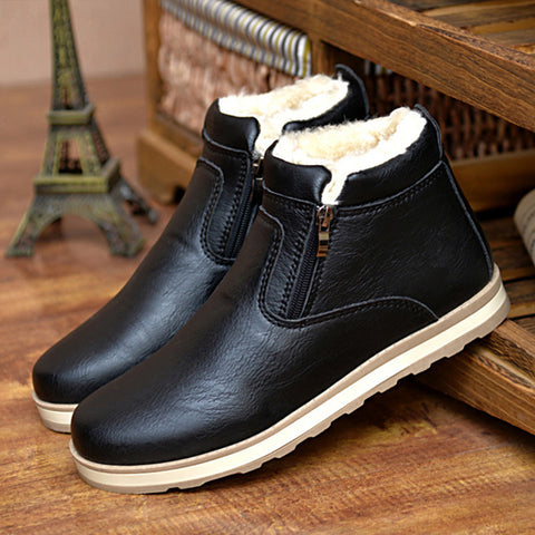 Plush male winter boots outside velvet warm shoes zip flats PU leather boots solid retro man shoes ankle boots