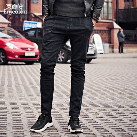 Enjeolon brand 2017 top quality long full trousers jeans men, cotton fabric clothing males Causal solid black Pants KZ6143
